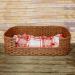Medium Dog Bed Basket Brown