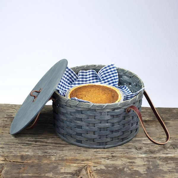 Double Pie Basket with Tray Gray