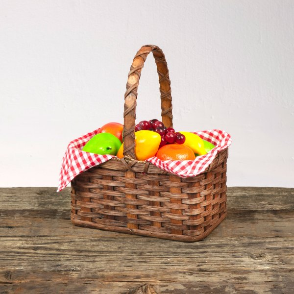 Large Fruit Basket with Wooden Handle Brown
