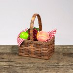Medium Fruit Basket with Wooden Handle Brown