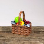 Small Fruit Basket with Wooden Handle Brown