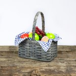 Large Fruit Basket with Wooden Handle Gray
