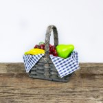 Small Fruit Basket with Wooden Handle Gray