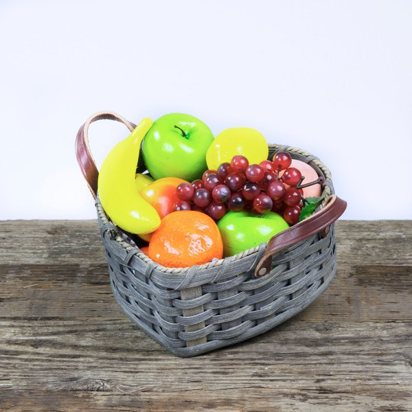 Medium Heart Fruit Basket with Leather Handle Gray