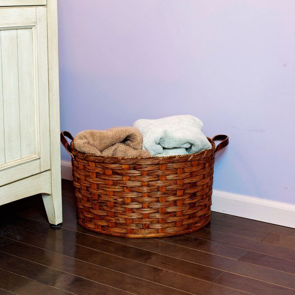 Medium Oval Laundry Basket Brown