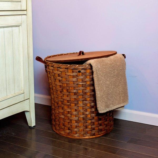 Small Round Hamper Basket Brown