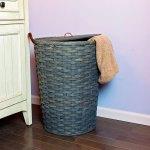Large Round Hamper Basket Gray