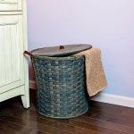 Small Round Hamper Basket Gray