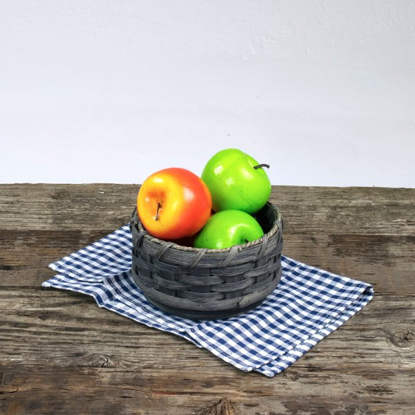 Small Round Lazy Susan Basket Gray
