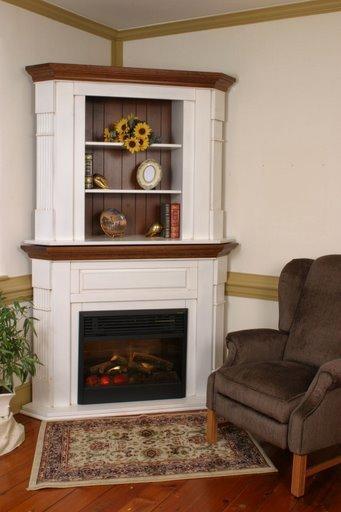corner fireplace with bookshelves