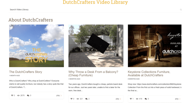 DutchCrafters Video Library Page Screenshot