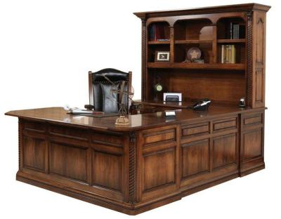 Amish Lexington U-Shaped Desk with Optional Hutch Top