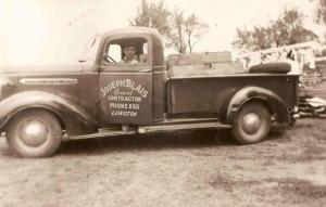 Lorraine's grandfather Joe Blais in his work truck.