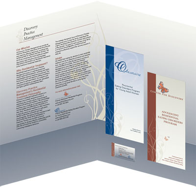presentation folder inside with business card and brochures