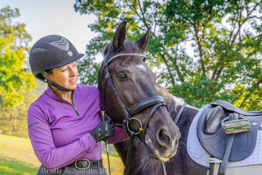 Kate Wilson, SMS-Qualified Saddle Fitter, with her Georgian Grande gelding, Nike in a Bates dressage saddle.