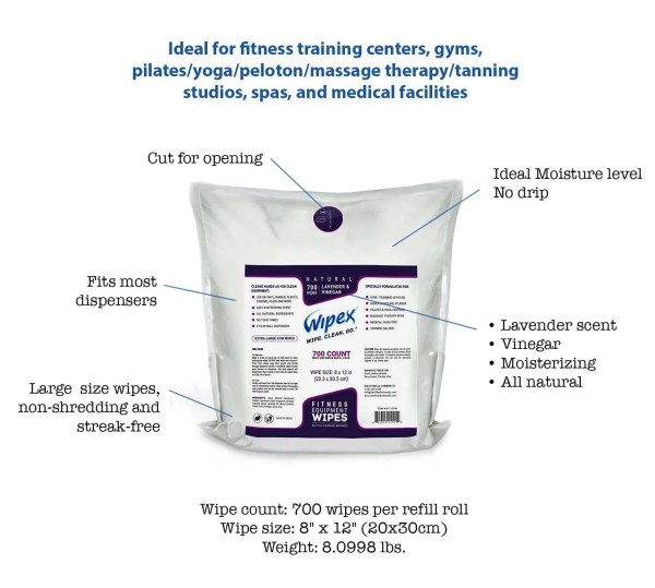 Wipex Gym & Fitness Equipment Wipes with Lavender & Vinegar