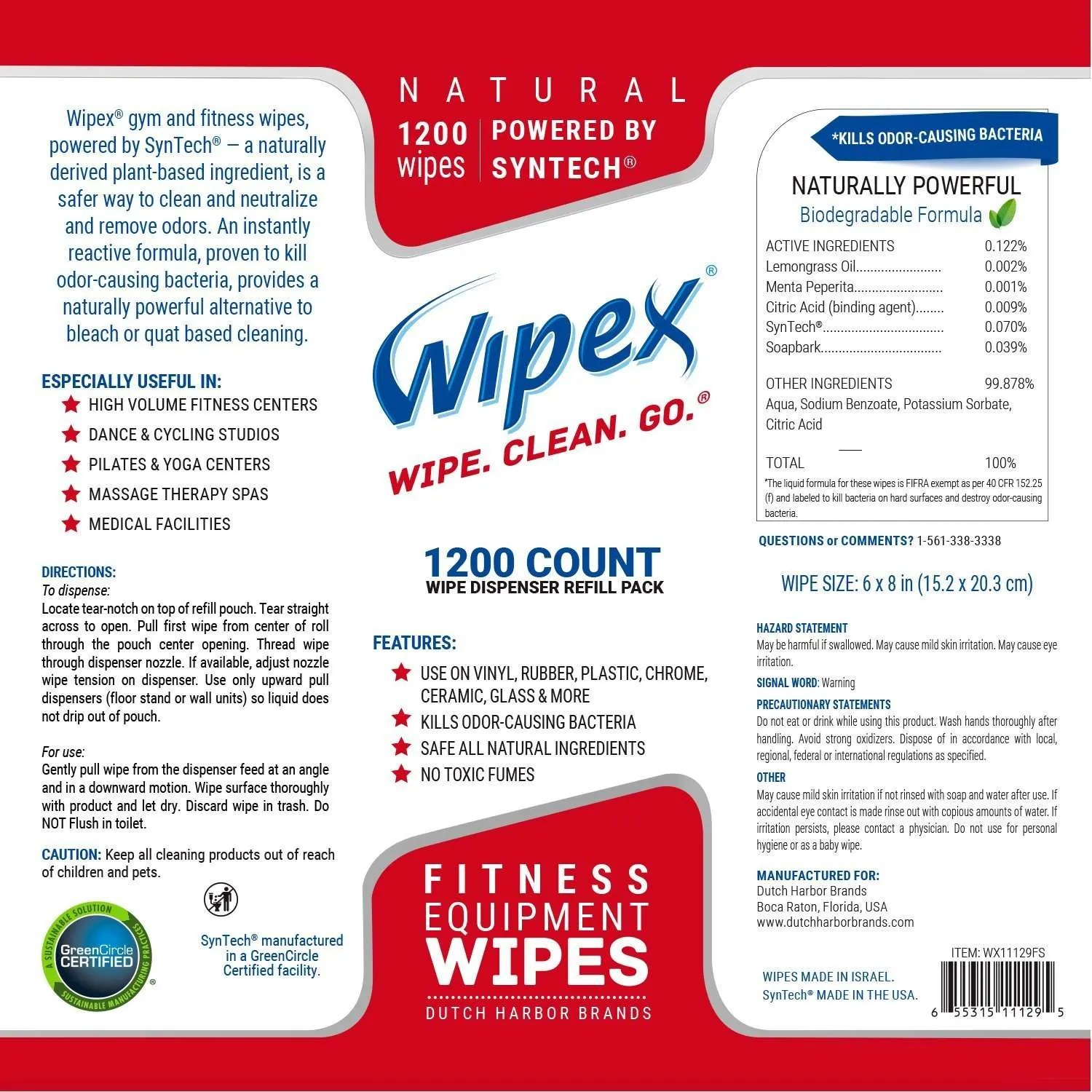 Fitness Equipment Wipes: Wipex Gym Equipment Wipes, 1200 Ct. Refill, Kills Odor