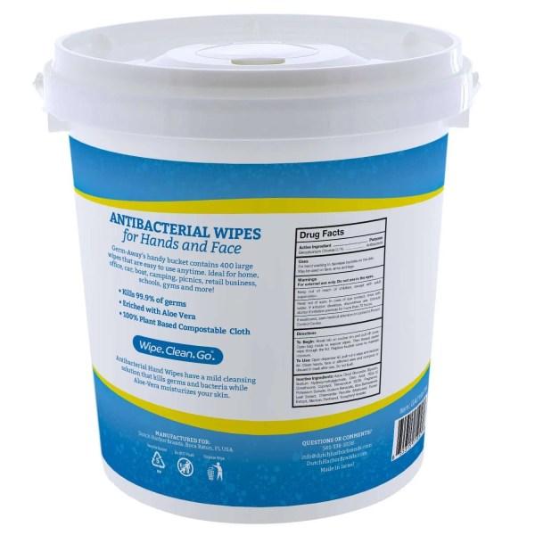 Germ-Away Antibacterial Bucket 400 Count Back Label View