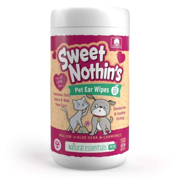 Natural Essentials Sweet Nothin's Pet Ear Wipes - 100 Count Canisters - 12 Pack