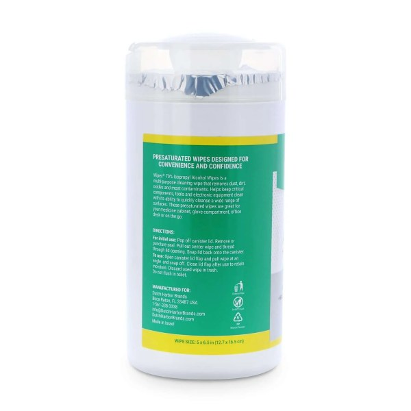 Wipex 70 percent alcohol wipes 75 count canister instructions on label