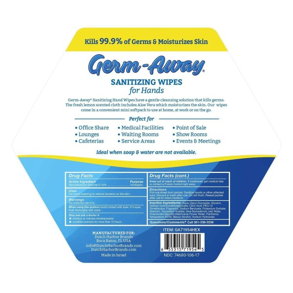 Germ-Away Hex Jar Back Label with description and drug facts