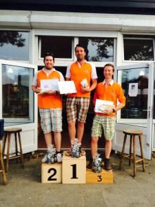 Podium Zomerwedstrijden v.l.n.r. Sander Luimes (Ag 2e), Steven Huiskes (Au 1e), Nick Hanenburg (KC 3e)