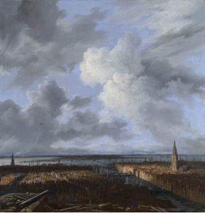 Jacob van Ruisdael - Gezicht op Amsterdam vanaf de steigers van het nieuwe stadhuis, 1670-1673