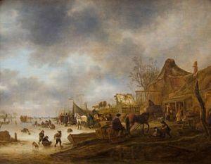Isaac van Ostade - Winterlandschap (1645)