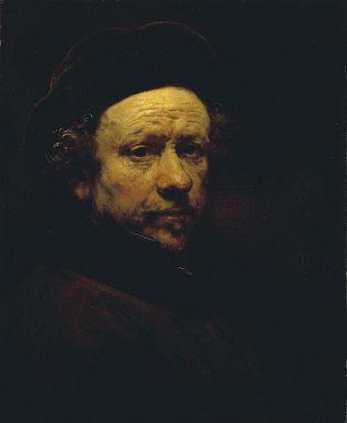 Rembrandt - Zelfportret met baret en opstaande kraag, ca. 1659, National Gallery of Scotland, Edinburgh
