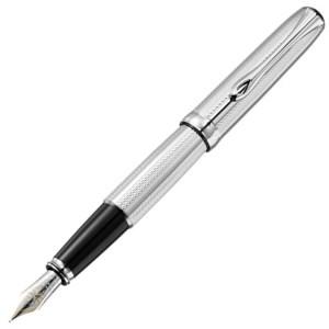 Diplomat Guilloche Stripes Chrome Fountain Pen