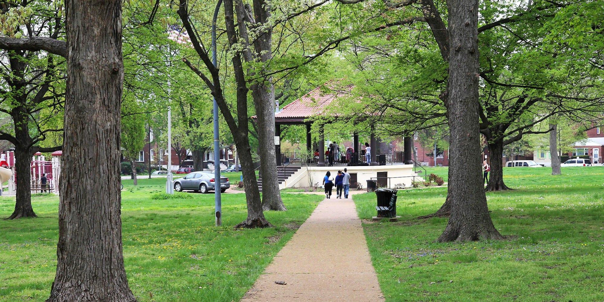 People gathering at the Gravois Park pavilion. Photo by Paul Sableman.