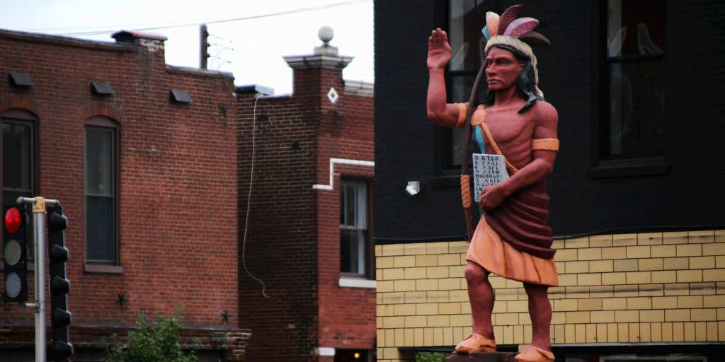 Statue at Cherokee and Jefferson.