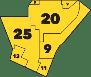 Aldermanic ward map of the Dutchtown area.