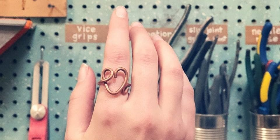 Copper Heart Ring Workshop at Perennial.