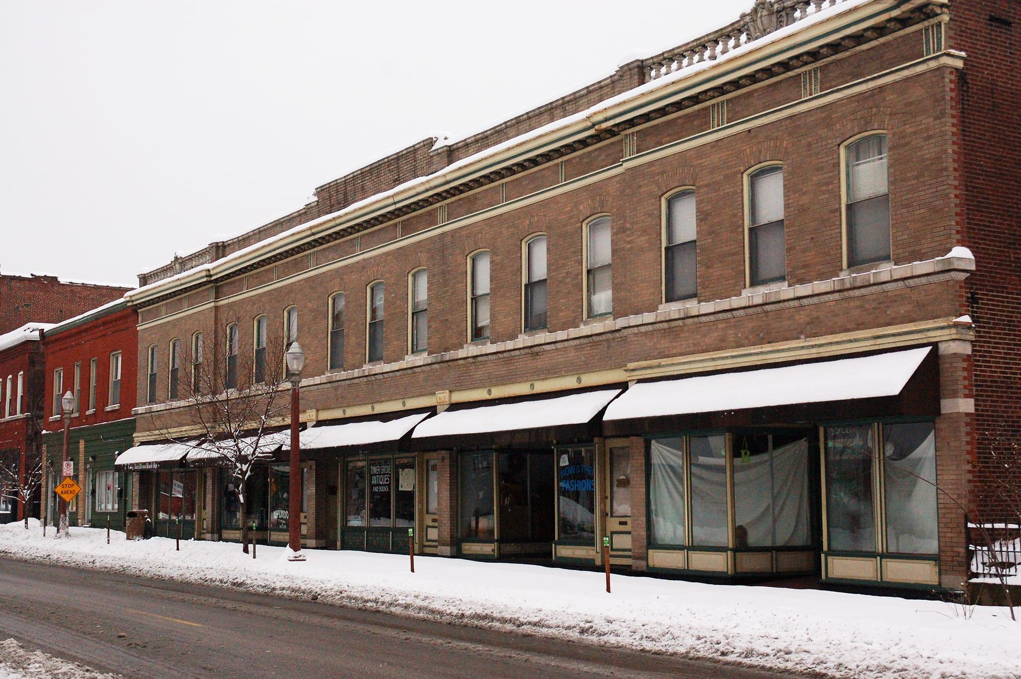 Shops on Meramec in the snow.