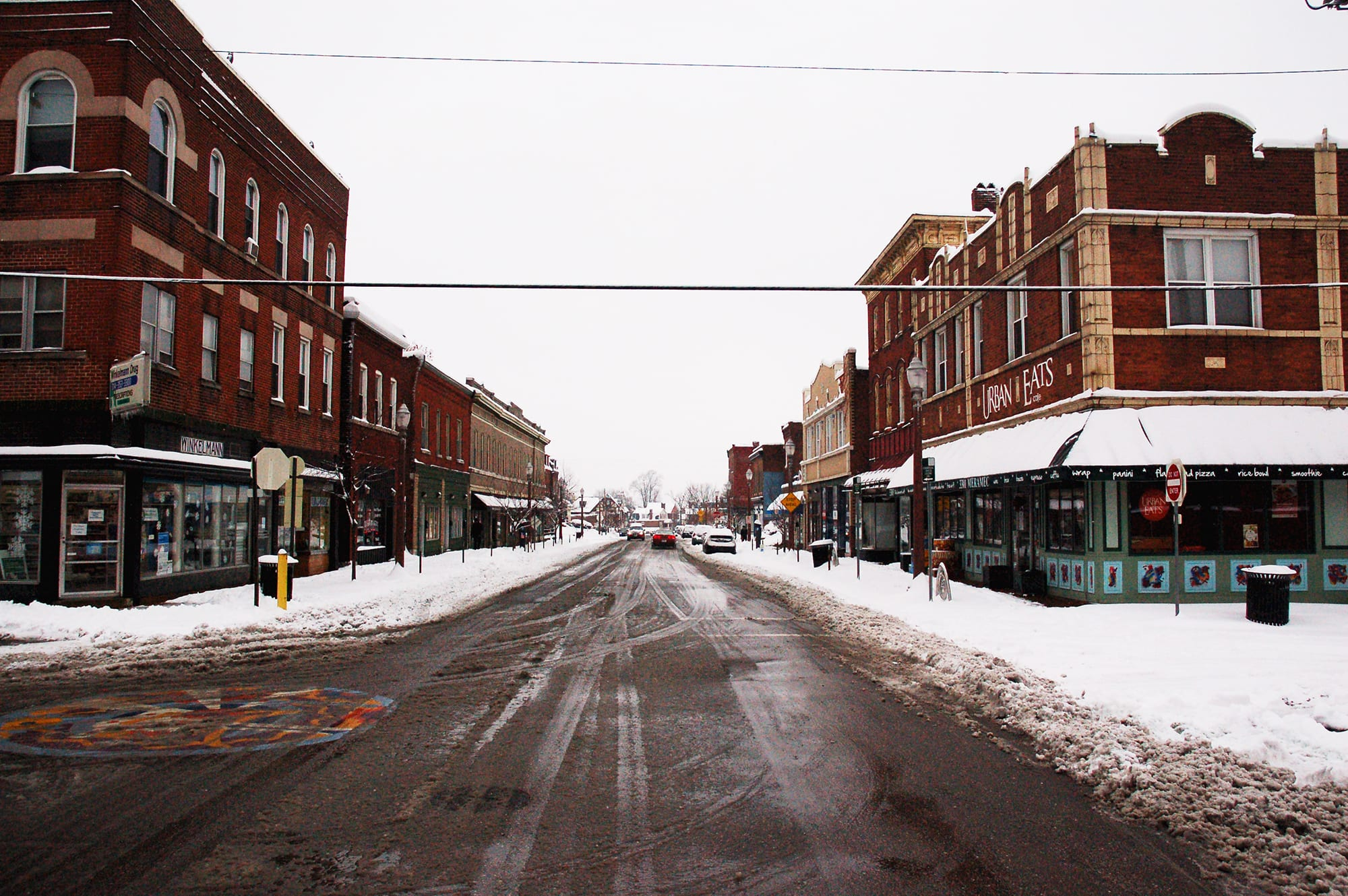 Meramec Street in the snow.