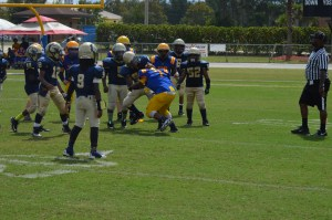 The altercation between the Bears' No. 7 and the Stallions' No. 56