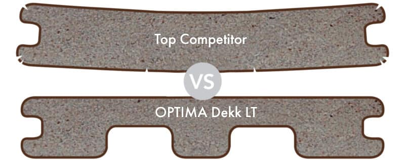Image comparison of deck board styles for the Optima Dekk LT to a top competitor - showing the optima profile.