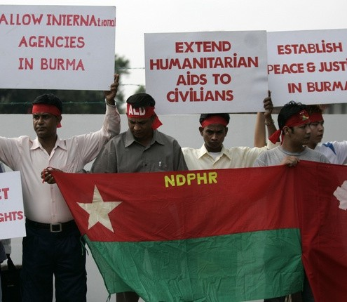 Refugees of Myanmar's Rohingya ethnic minority take part in a demonstration outside Myanmar's embassy in Kuala Lumpur