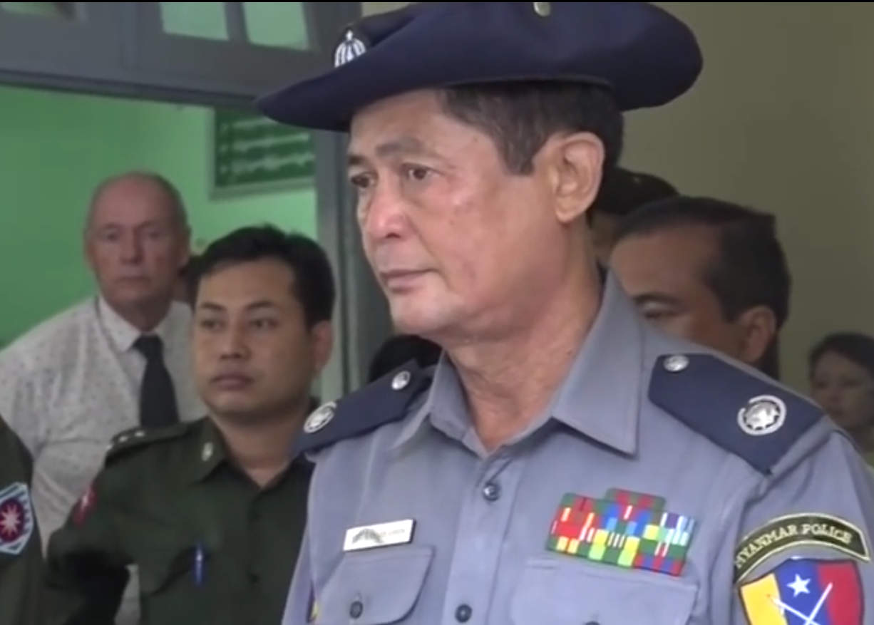 Police Brig-Gen Thura San Lwin, the commander of border police in Maungdaw Township, meets with reporters on 17 October 2016. (Photo: DVB)