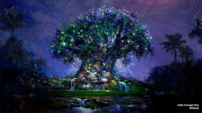 Fireflies lighting up the great tree at Animal Kingdom for Walt Disney World's 50th Anniversary concept art