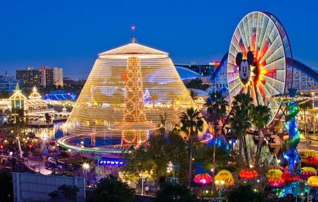 Disneyland California Adventure with Mickey ferris wheel at night