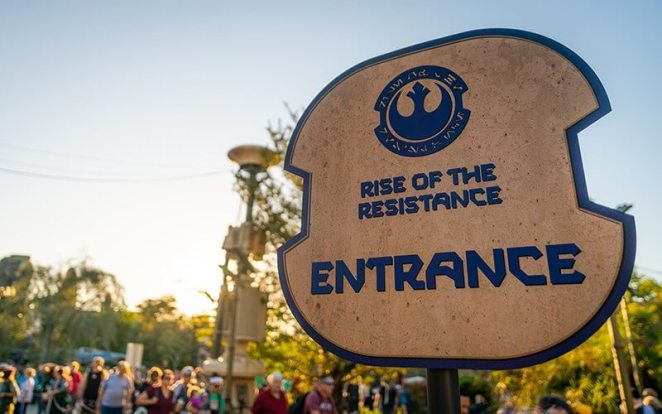 Rise of the Resistance Sign at Ride Entrance