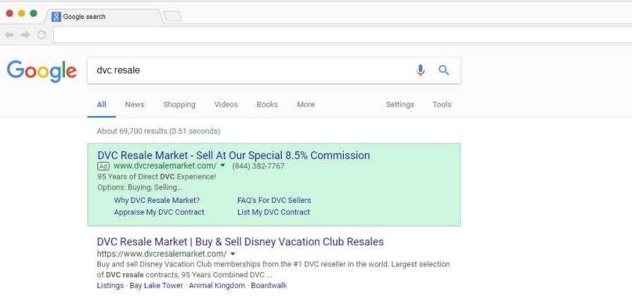 Google search for DVC Resale