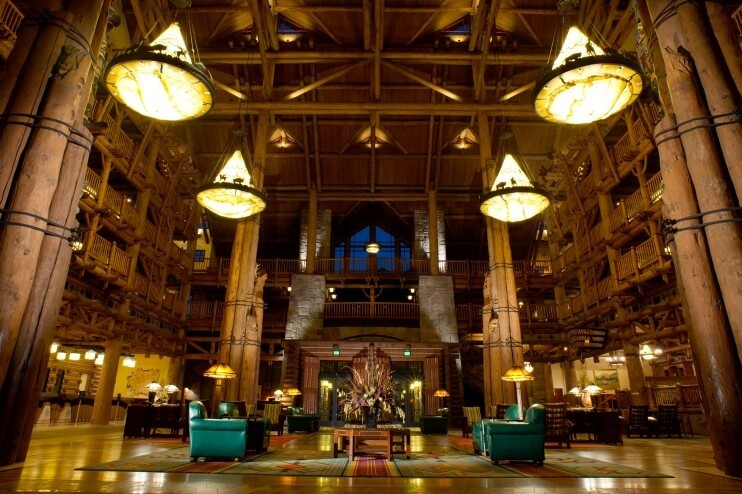 Wilderness Lodge Lobby lit at night