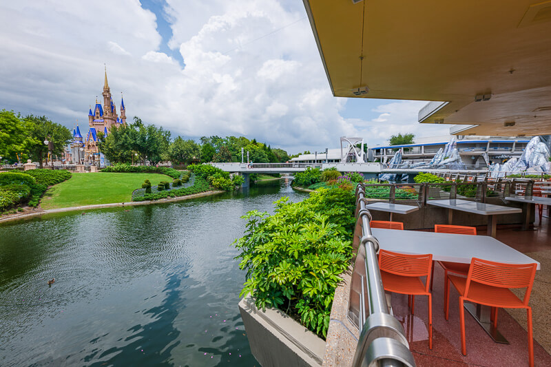 View of Cinderella's Castle from Tomorrowland Terrace at Disney World