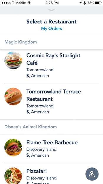 Restaurant selection screen in the Disney Mobile Order iOS app