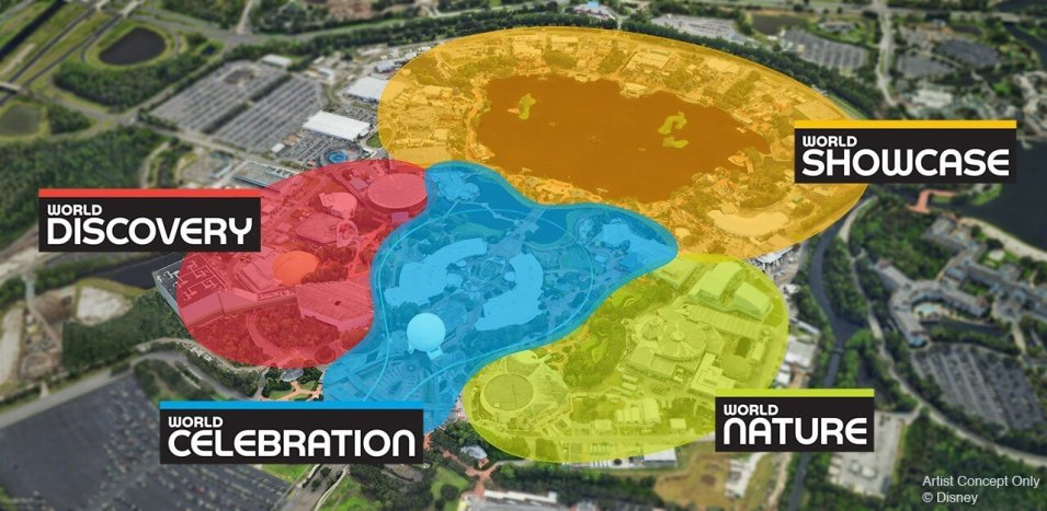 Map of Epcot divided into four themed lands - Discover, Celebration, Nature, Showcase