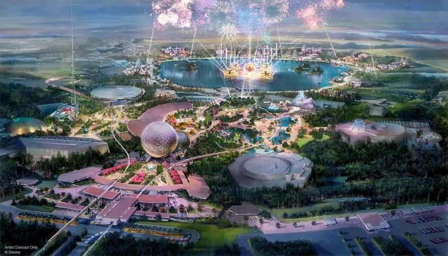 Transformation of Epcot artwork with fireworks
