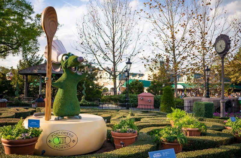 Remy topiary will be at the France pavilion at EPCOT
